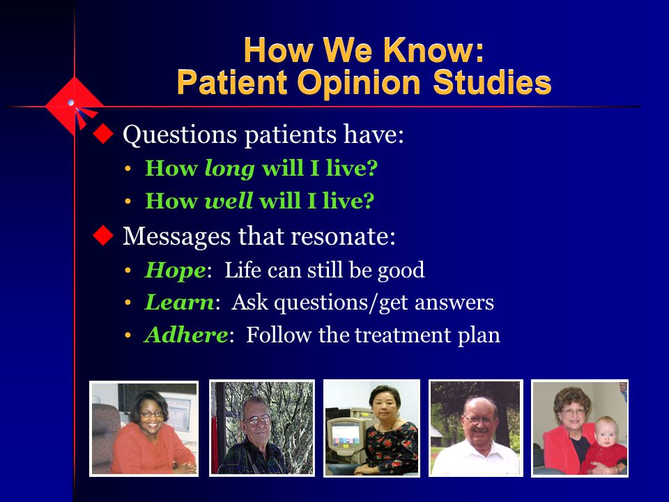 How We Know: Patient Opinion Studies u Questions patients have: How long will I live.