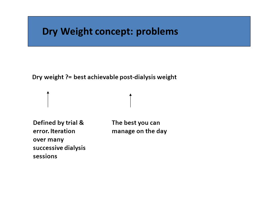Dry Weight concept: problems Dry weight ?= best achievable post-dialysis weight Defined by trial & error. Iteration over many successive dialysis sess