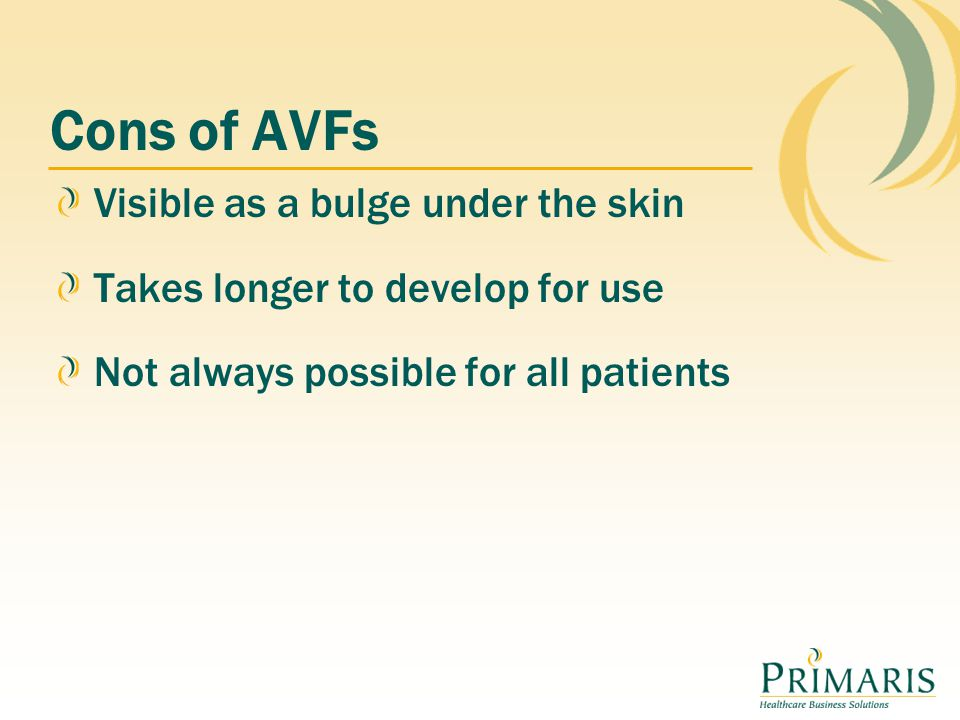 Cons of AVFs Visible as a bulge under the skin Takes longer to develop for use Not always possible for all patients