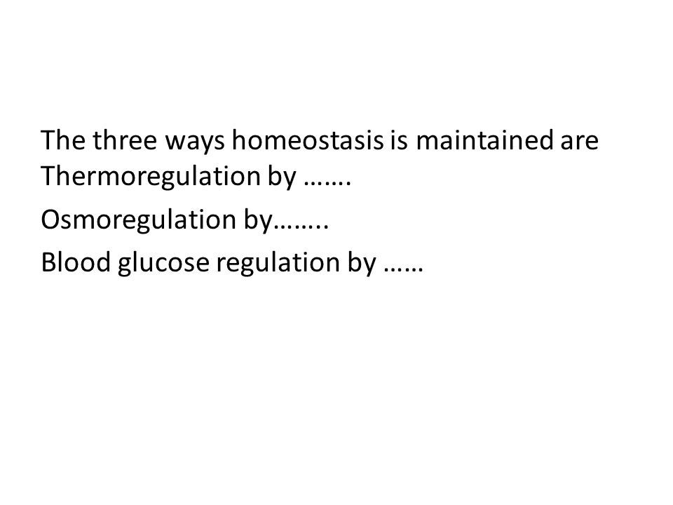 The three ways homeostasis is maintained are Thermoregulation by ……. Osmoregulation by…….. Blood glucose regulation by ……