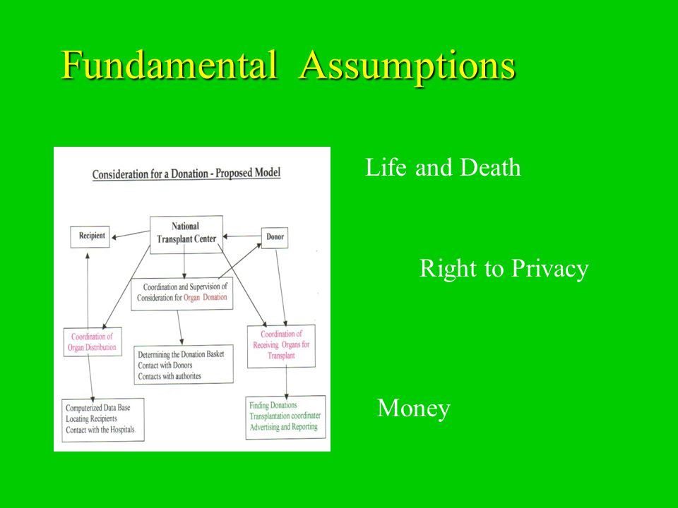Fundamental Assumptions Fundamental Assumptions Life and Death Right to Privacy Money