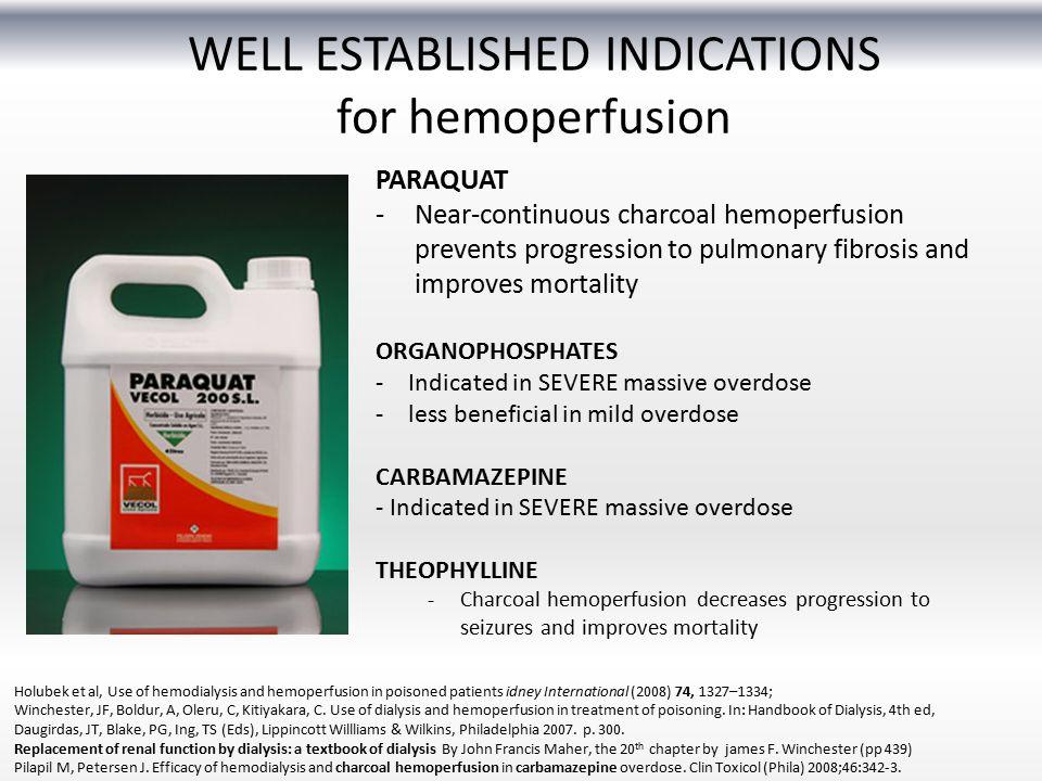 WELL ESTABLISHED INDICATIONS for hemoperfusion Holubek et al, Use of hemodialysis and hemoperfusion in poisoned patients idney International (2008) 74, 1327–1334; Winchester, JF, Boldur, A, Oleru, C, Kitiyakara, C.