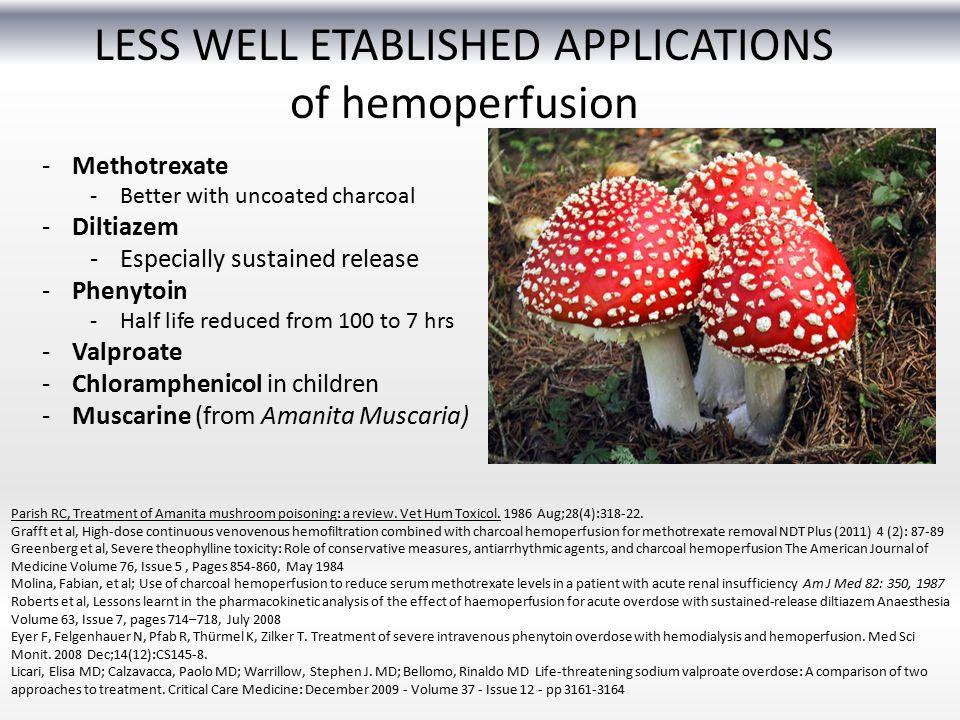 LESS WELL ETABLISHED APPLICATIONS of hemoperfusion Parish RC, Treatment of Amanita mushroom poisoning: a review. Vet Hum Toxicol. 1986 Aug;28(4):318-2