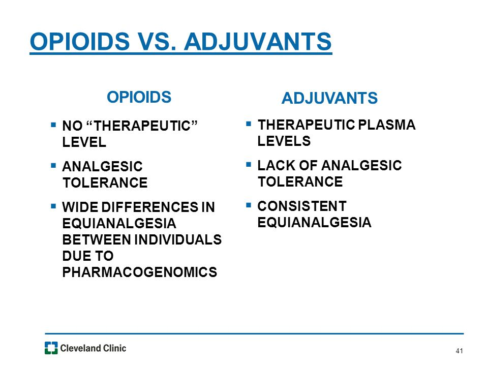 """41 OPIOIDS VS. ADJUVANTS OPIOIDS  NO """"THERAPEUTIC"""" LEVEL  ANALGESIC TOLERANCE  WIDE DIFFERENCES IN EQUIANALGESIA BETWEEN INDIVIDUALS DUE TO PHARMAC"""