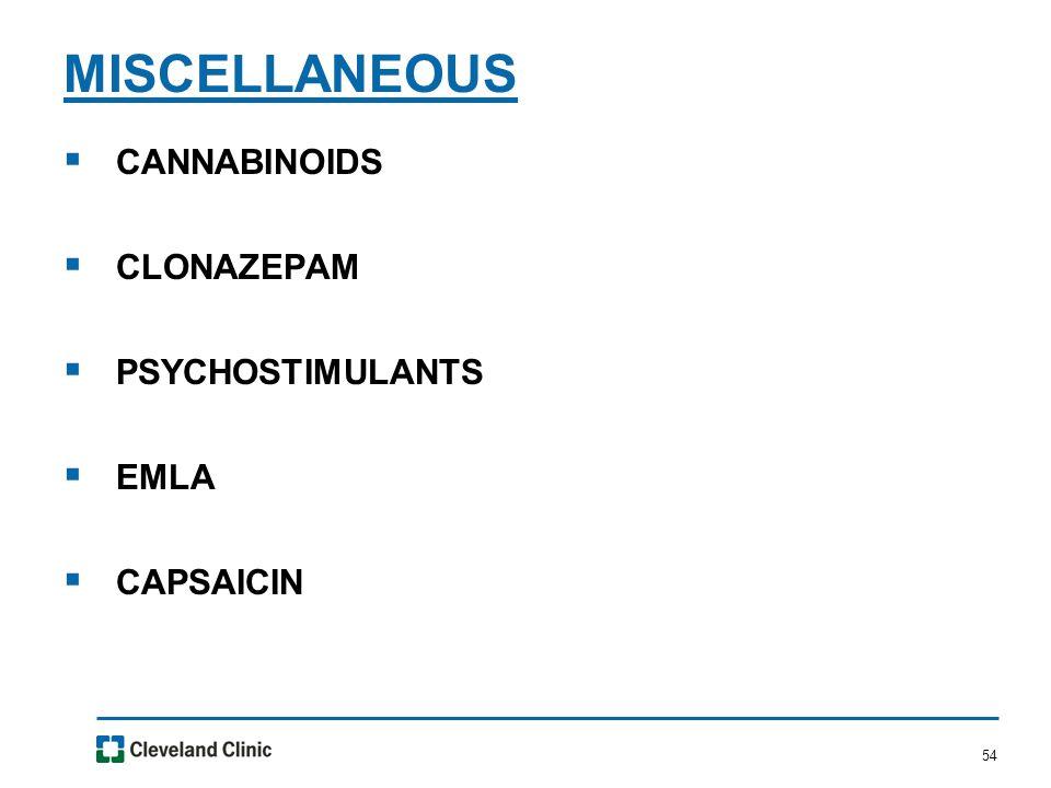 54  CANNABINOIDS  CLONAZEPAM  PSYCHOSTIMULANTS  EMLA  CAPSAICIN MISCELLANEOUS