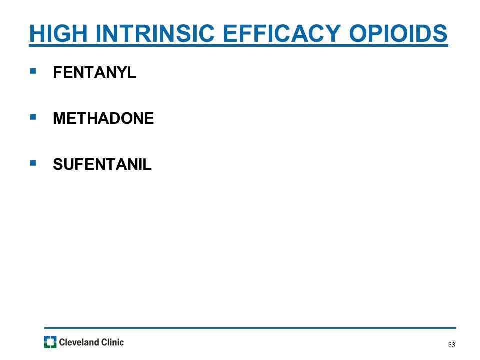 63  FENTANYL  METHADONE  SUFENTANIL HIGH INTRINSIC EFFICACY OPIOIDS