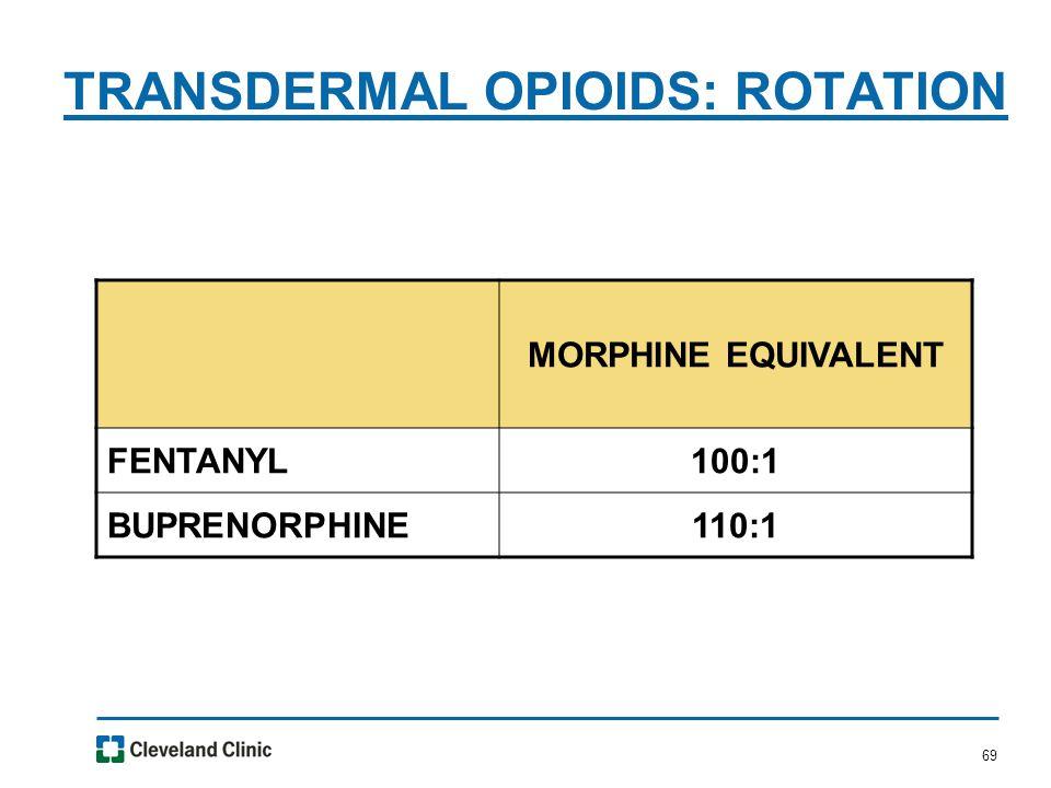 69 TRANSDERMAL OPIOIDS: ROTATION MORPHINE EQUIVALENT FENTANYL100:1 BUPRENORPHINE110:1