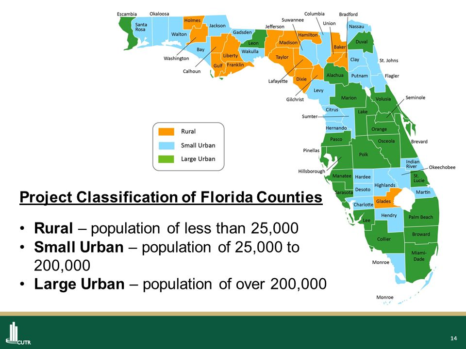 14 Project Classification of Florida Counties Rural – population of less than 25,000 Small Urban – population of 25,000 to 200,000 Large Urban – population of over 200,000
