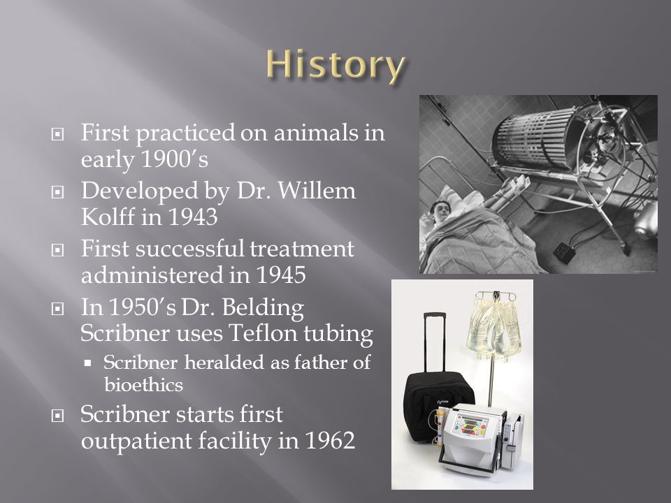  First practiced on animals in early 1900's  Developed by Dr.