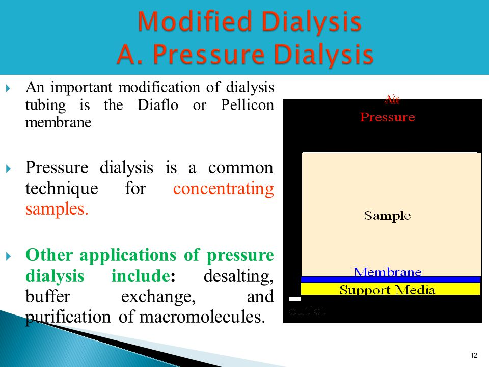 Modified Dialysis A. Pressure Dialysis Modified Dialysis A.