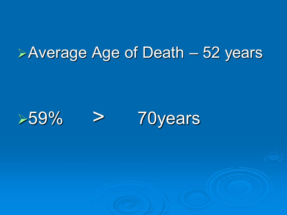  Average Age of Death – 52 years  59% > 70years