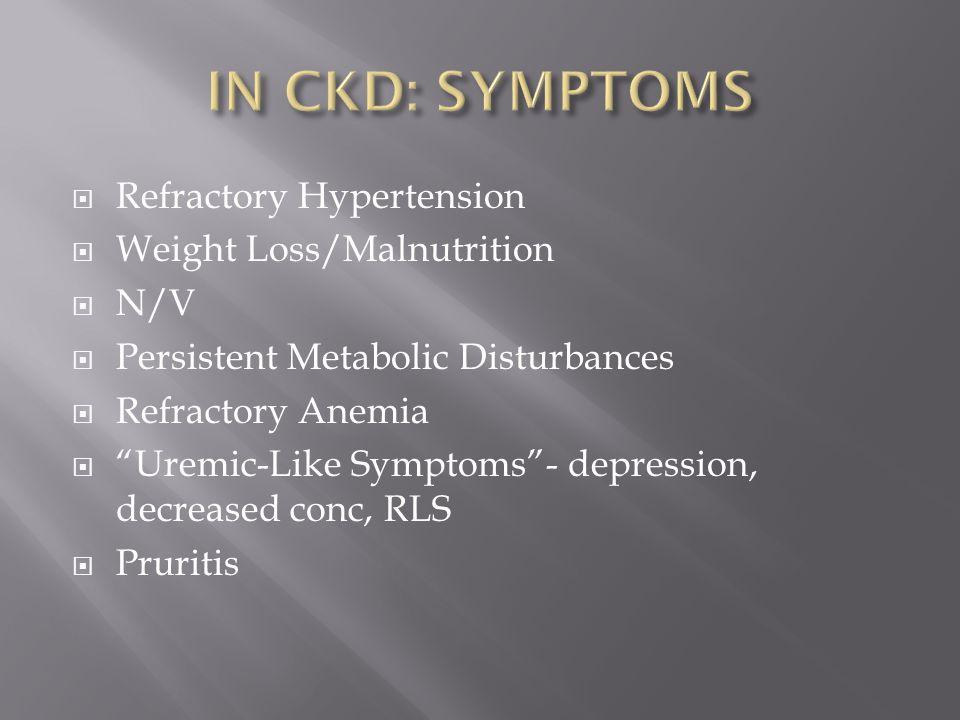 " Refractory Hypertension  Weight Loss/Malnutrition  N/V  Persistent Metabolic Disturbances  Refractory Anemia  ""Uremic-Like Symptoms""- depressio"
