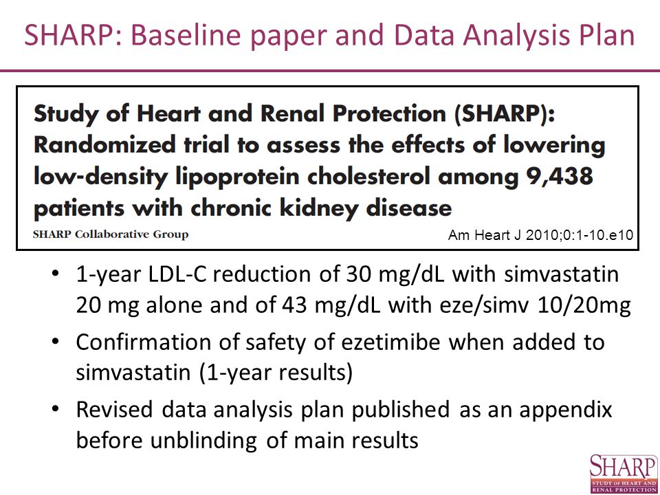 SHARP: Baseline paper and Data Analysis Plan Am Heart J 2010;0:1-10.e10 1-year LDL-C reduction of 30 mg/dL with simvastatin 20 mg alone and of 43 mg/d