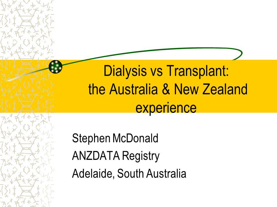 ANZDATA Registry Dialysis Transplant mortality, Darwin 2001 Absolute Rates Post transplant status Mortality rate / 100 / yr Dialysis0-33-66-12>12 months 0 5 10 15 20 Marginal Non-marginal
