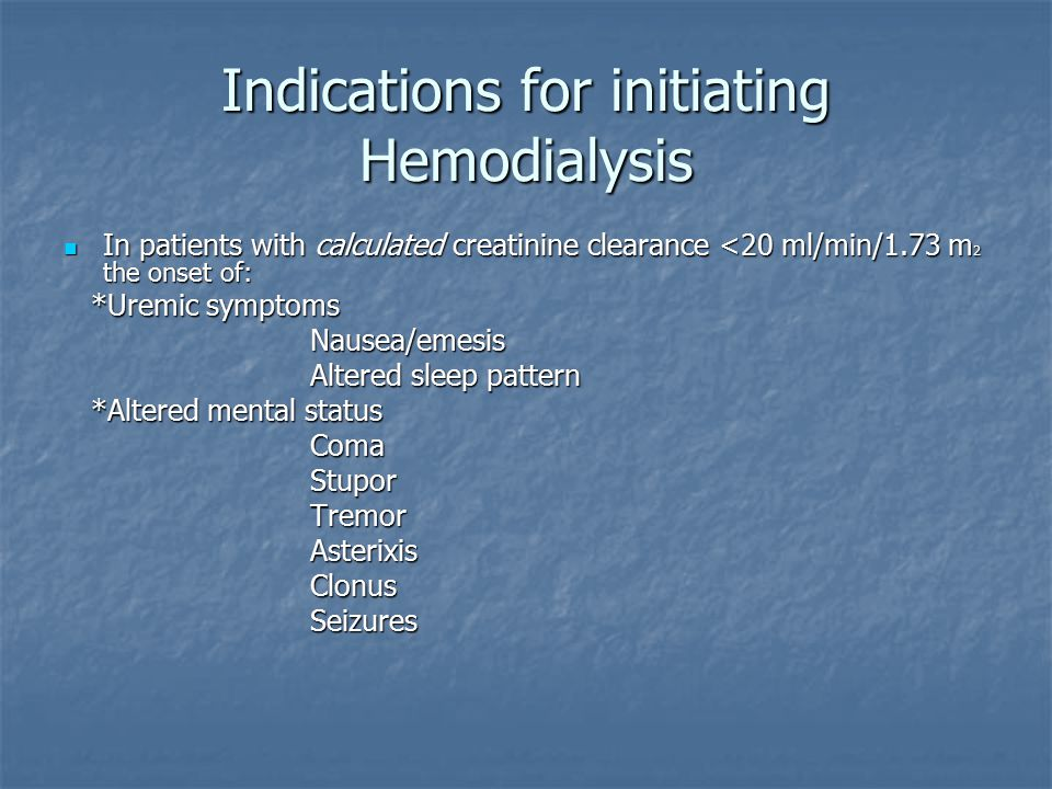 Indications for initiating Hemodialysis In patients with calculated creatinine clearance <20 ml/min/1.73 m 2 the onset of: In patients with calculated