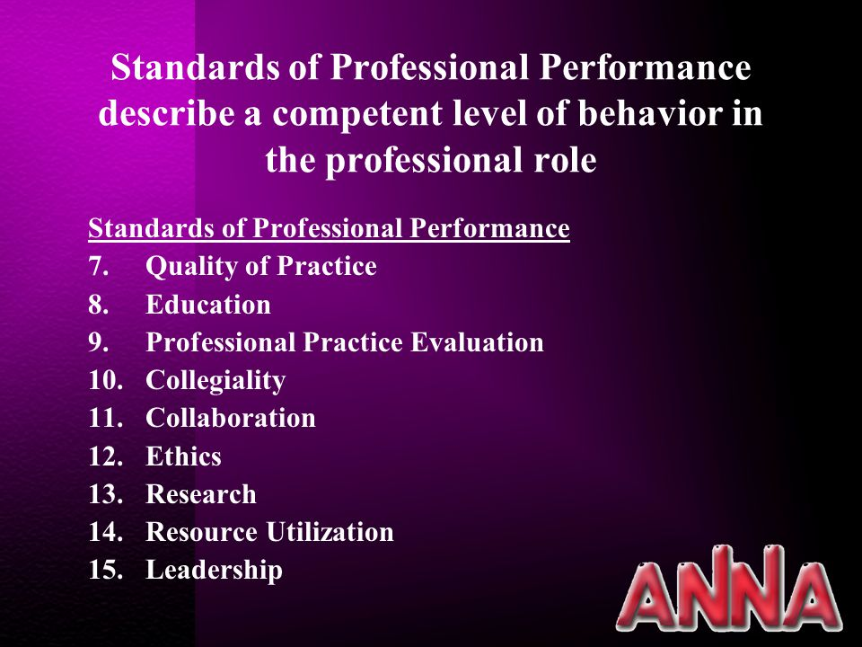 Standards of Professional Performance describe a competent level of behavior in the professional role Standards of Professional Performance 7.