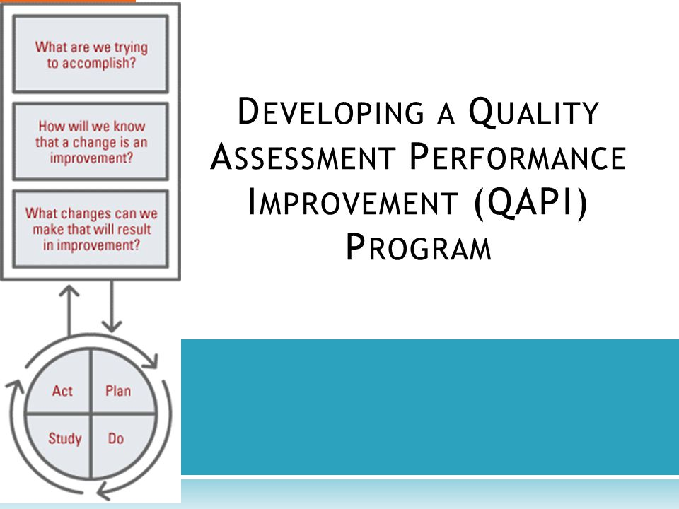 D EVELOPING A Q UALITY A SSESSMENT P ERFORMANCE I MPROVEMENT (QAPI) P ROGRAM
