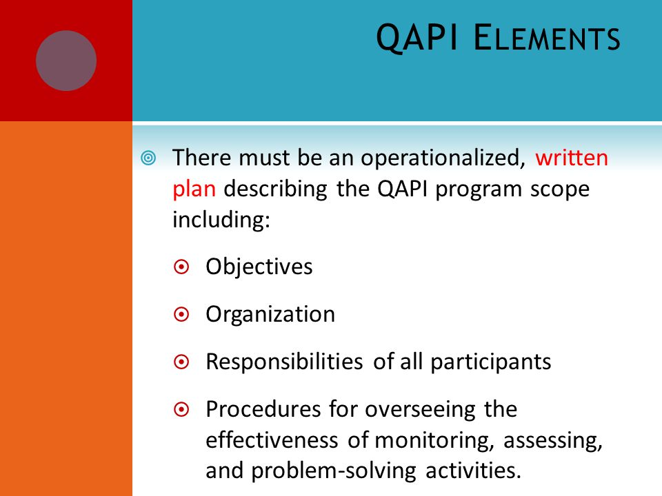 QAPI E LEMENTS  There must be an operationalized, written plan describing the QAPI program scope including:  Objectives  Organization  Responsibilities of all participants  Procedures for overseeing the effectiveness of monitoring, assessing, and problem-solving activities.
