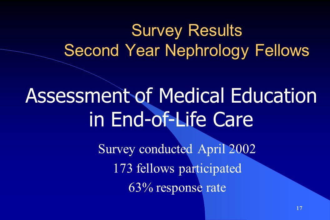 17 Survey Results Second Year Nephrology Fellows Survey conducted April 2002 173 fellows participated 63% response rate Assessment of Medical Education in End-of-Life Care