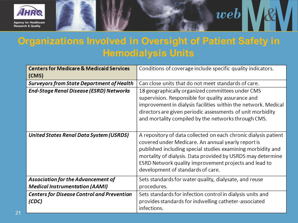 21 Organizations Involved in Oversight of Patient Safety in Hemodialysis Units Centers for Medicare & Medicaid Services (CMS) Conditions of coverage include specific quality indicators.