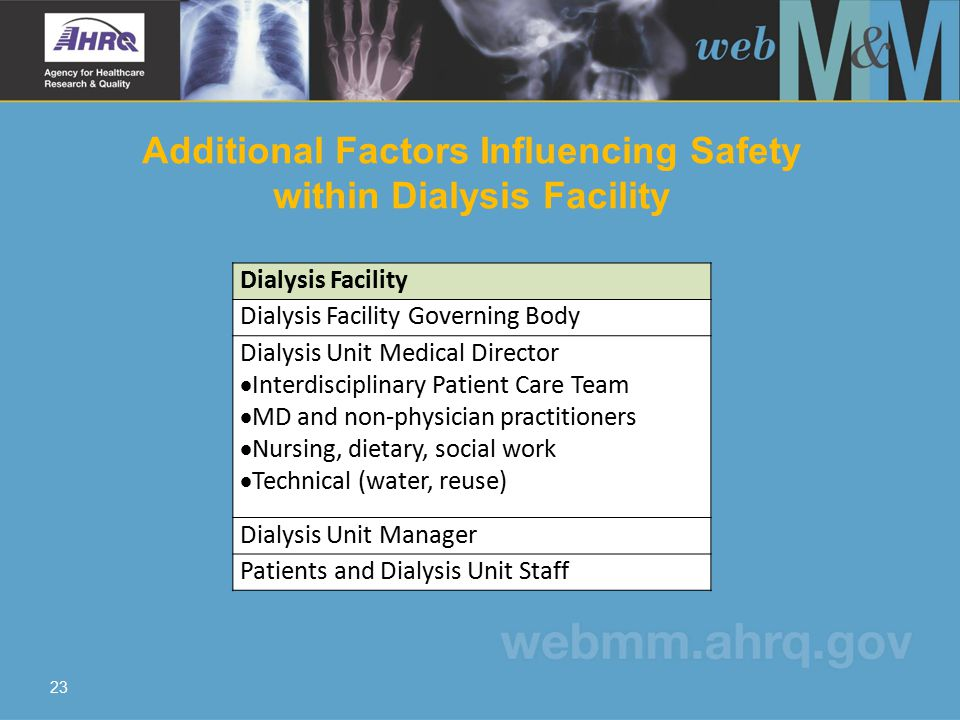 Additional Factors Influencing Safety within Dialysis Facility 23 Dialysis Facility Dialysis Facility Governing Body Dialysis Unit Medical Director  Interdisciplinary Patient Care Team  MD and non-physician practitioners  Nursing, dietary, social work  Technical (water, reuse) Dialysis Unit Manager Patients and Dialysis Unit Staff
