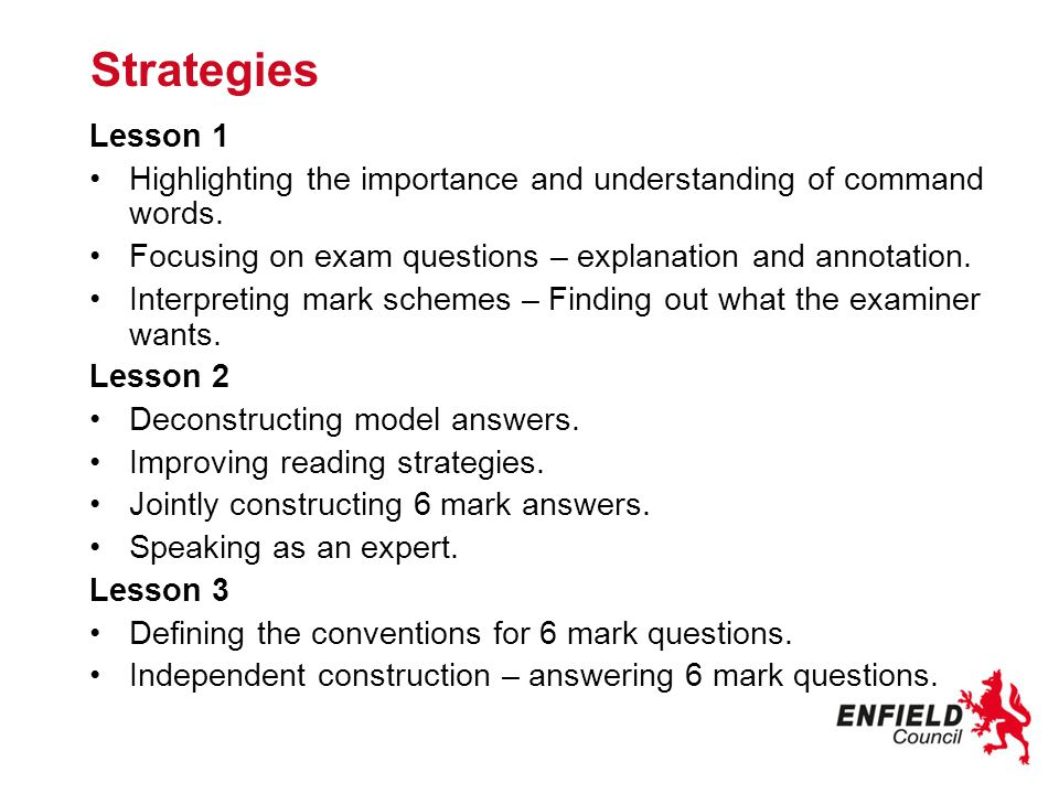 Preparing for independent construction – Defining the conventions for 6 marks In groups list the features of an extended prose science answer.