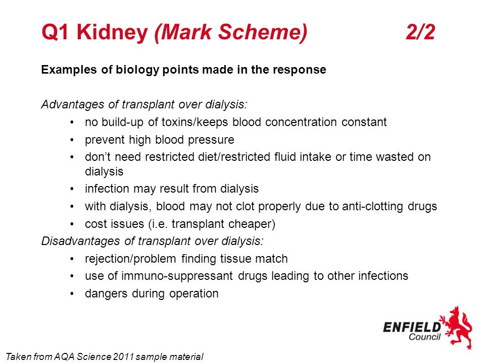 Q3 Kidney (6 mark question) Explain how dialysis treatment preserves the concentration of dissolved substances in the blood and removes urea.