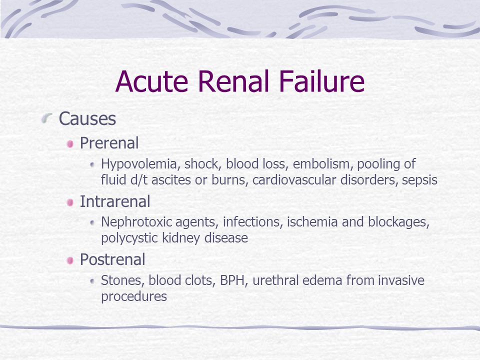 Acute Renal Failure Stages Onset – 1-3 days with ^ BUN and creatinine and possible decreased UOP Oliguric – UOP < 400/d, ^BUN,Crest, Phos, K, may last up to 14 d Diuretic – UOP ^ to as much as 4000 mL/d but no waste products, at end of this stage may begin to see improvement Recovery – things go back to normal or may remain insufficient and become chronic