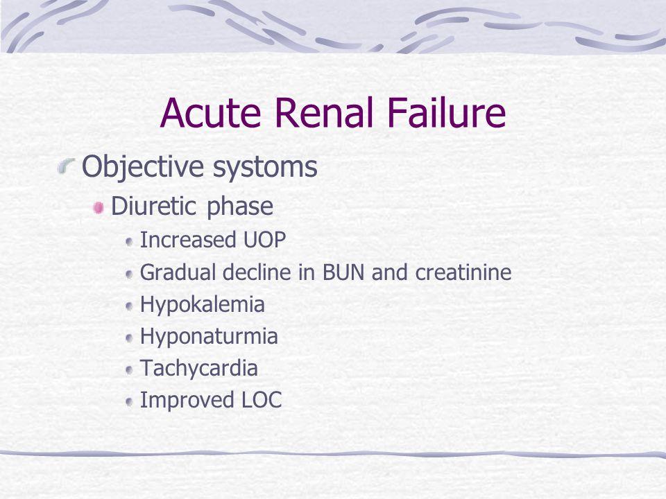 Acute Renal Failure Objective systoms Diuretic phase Increased UOP Gradual decline in BUN and creatinine Hypokalemia Hyponaturmia Tachycardia Improved LOC
