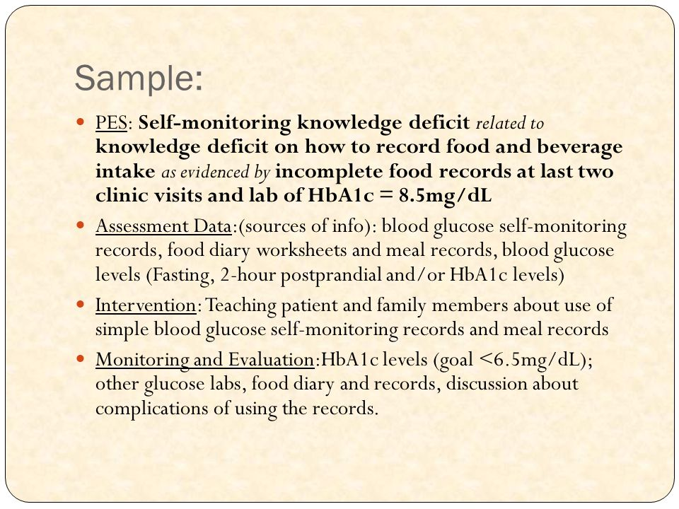 Sample: PES: Self-monitoring knowledge deficit related to knowledge deficit on how to record food and beverage intake as evidenced by incomplete food
