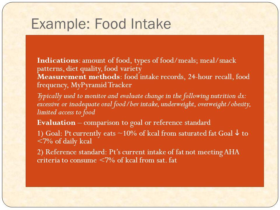 Example: Food Intake Indications: amount of food, types of food/meals; meal/snack patterns, diet quality, food variety Measurement methods: food intak