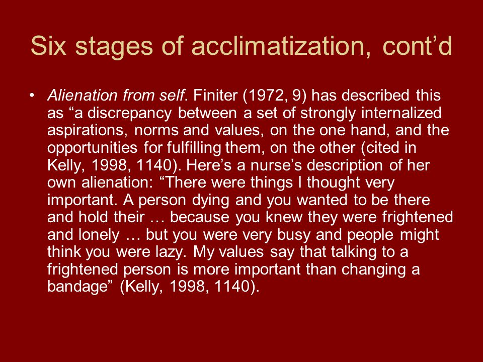 Six stages of acclimatization, cont'd Alienation from self.
