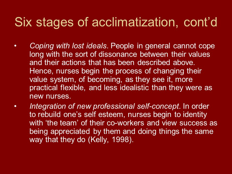 Six stages of acclimatization, cont'd Coping with lost ideals.
