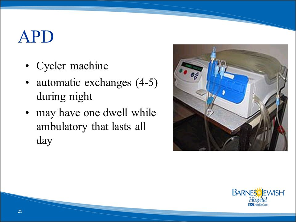 21 APD Cycler machine automatic exchanges (4-5) during night may have one dwell while ambulatory that lasts all day