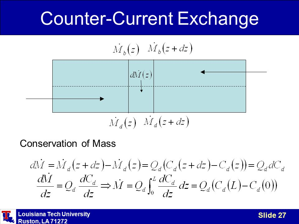 Louisiana Tech University Ruston, LA 71272 Slide 27 Counter-Current Exchange Conservation of Mass