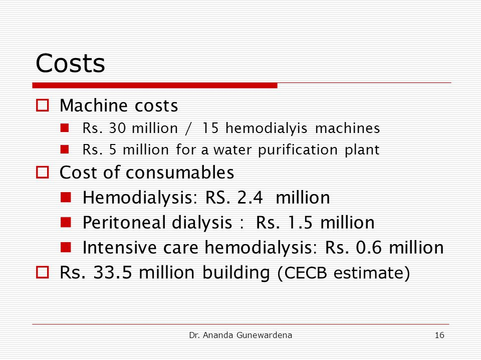 Dr. Ananda Gunewardena16 Costs  Machine costs Rs.