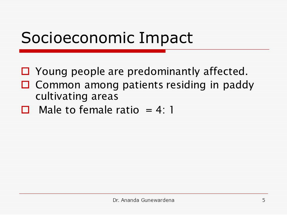 Dr. Ananda Gunewardena5 Socioeconomic Impact  Young people are predominantly affected.