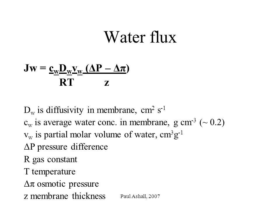 Paul Ashall, 2007 Water flux Jw = c w D w v w (ΔP – Δπ) RT z D w is diffusivity in membrane, cm 2 s -1 c w is average water conc.