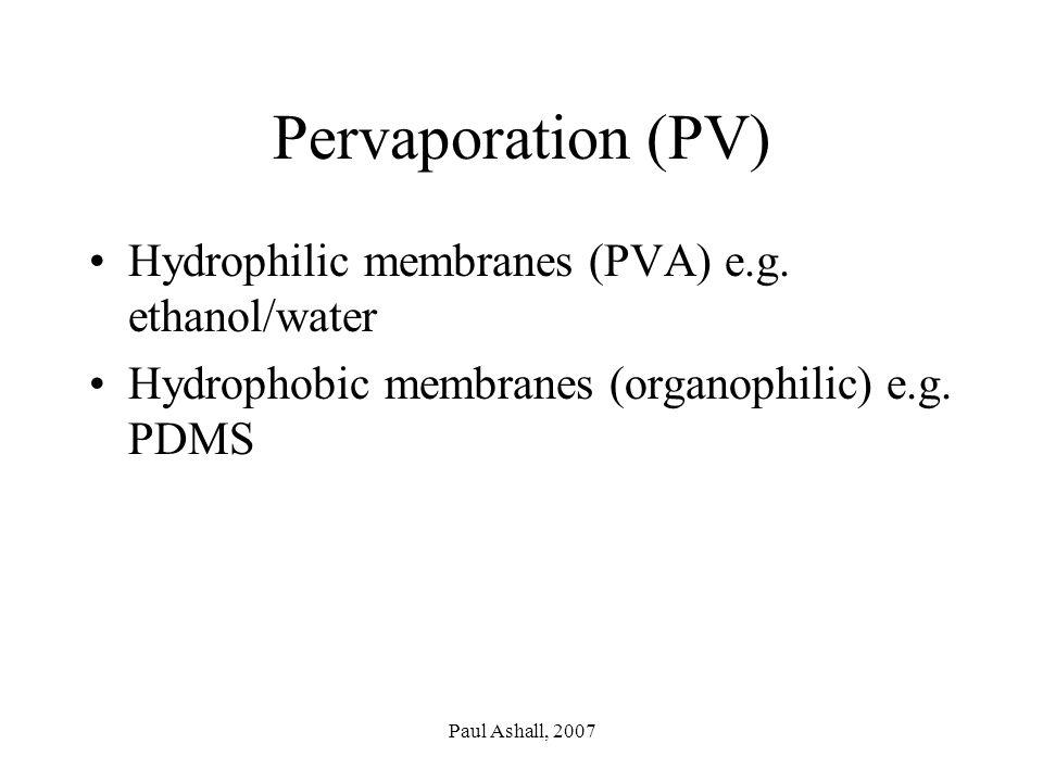 Paul Ashall, 2007 Pervaporation (PV) Hydrophilic membranes (PVA) e.g.