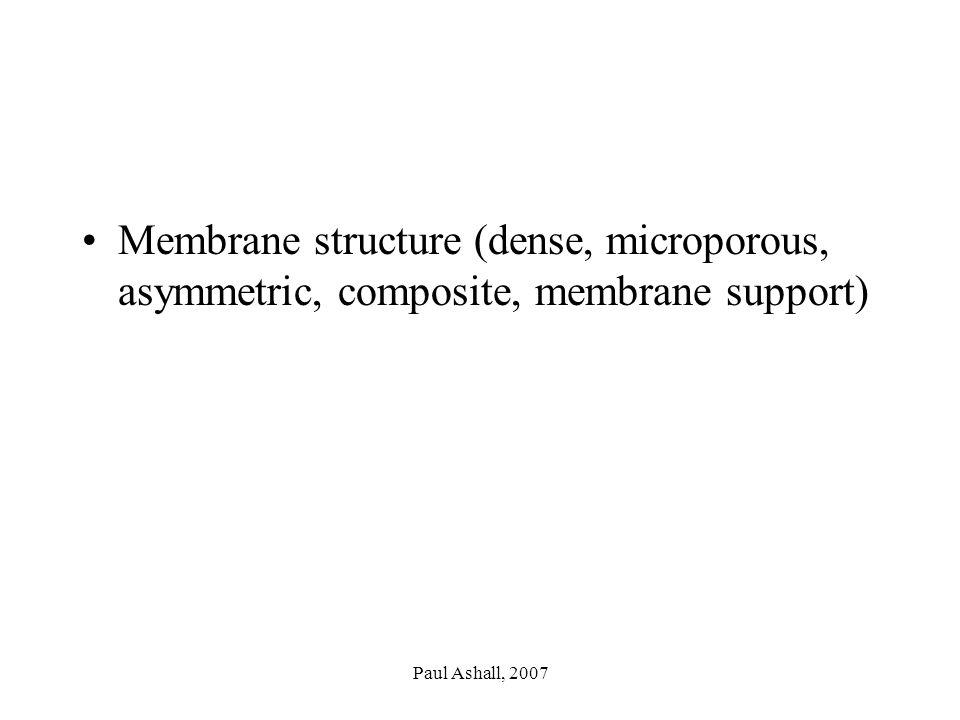 Paul Ashall, 2007 Membrane structure (dense, microporous, asymmetric, composite, membrane support)