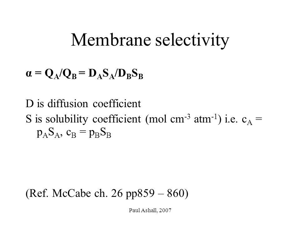 Paul Ashall, 2007 Membrane selectivity α = Q A /Q B = D A S A /D B S B D is diffusion coefficient S is solubility coefficient (mol cm -3 atm -1 ) i.e.