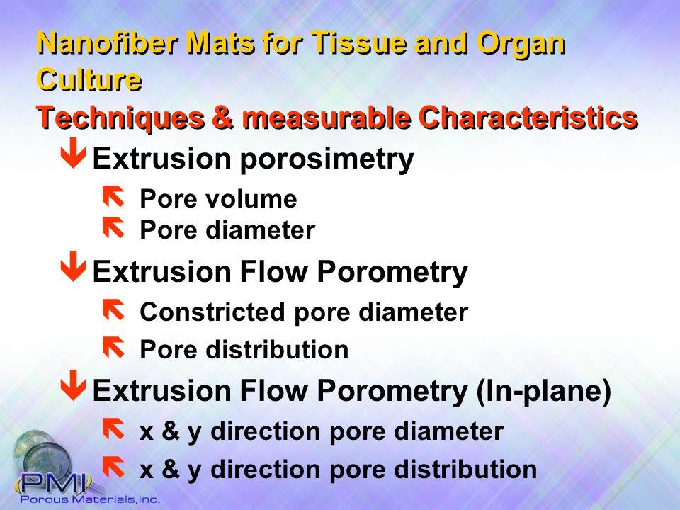 Techniques & measurable Characteristics ë Pore diameter ê Extrusion Flow Porometry ë Constricted pore diameter ë Pore distribution ê Extrusion Flow Po