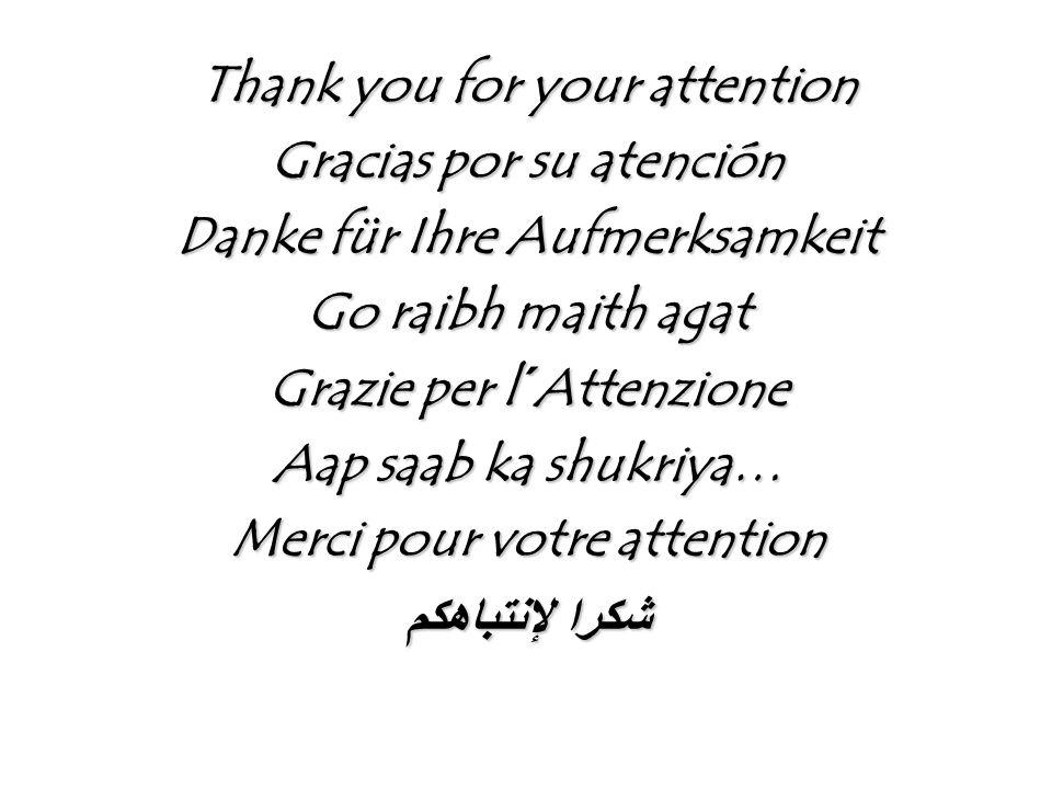 Thank you for your attention Gracias por su atención Danke für Ihre Aufmerksamkeit Go raibh maith agat Grazie per l´Attenzione Aap saab ka shukriya… Merci pour votre attention شكرا لإنتباهكم