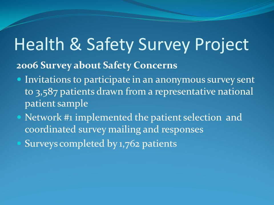 Health & Safety Survey Project 2006 Survey about Safety Concerns Invitations to participate in an anonymous survey sent to 3,587 patients drawn from a representative national patient sample Network #1 implemented the patient selection and coordinated survey mailing and responses Surveys completed by 1,762 patients