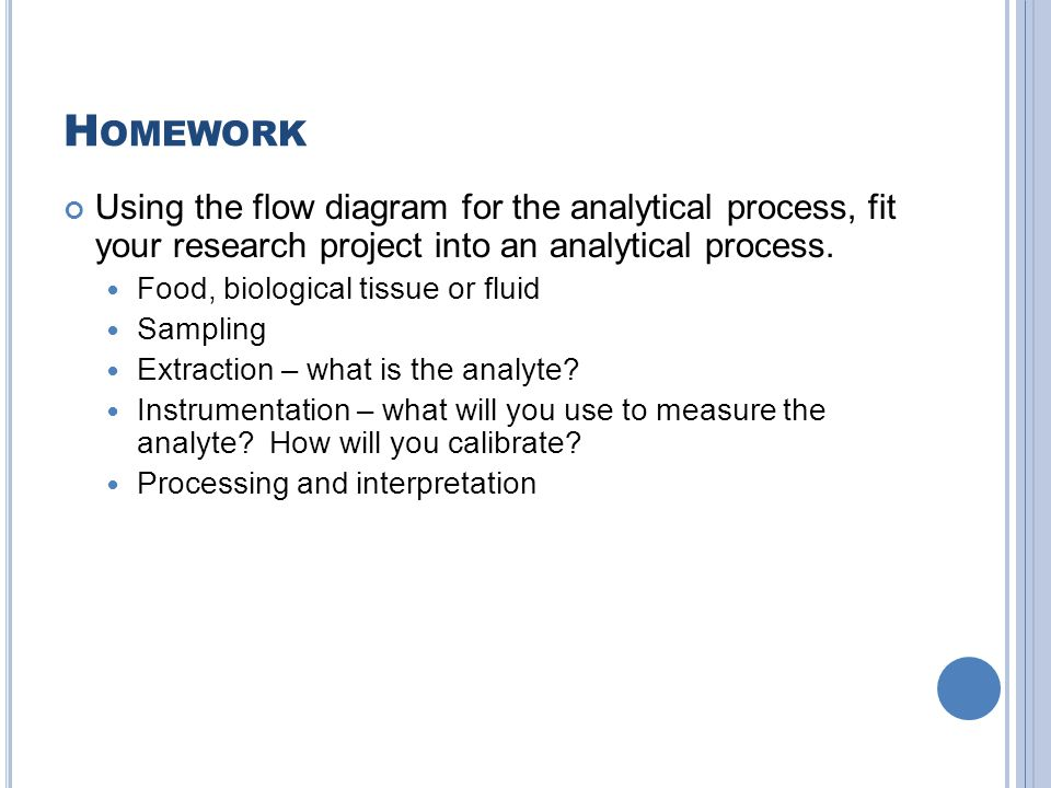 H OMEWORK Using the flow diagram for the analytical process, fit your research project into an analytical process. Food, biological tissue or fluid Sa