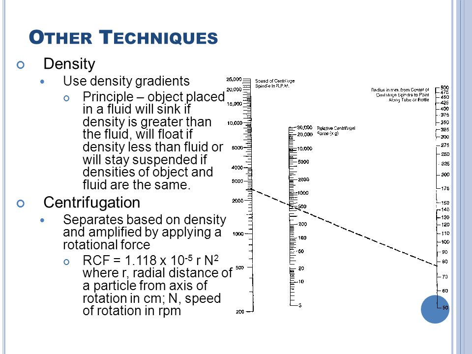 O THER T ECHNIQUES Density Use density gradients Principle – object placed in a fluid will sink if density is greater than the fluid, will float if de