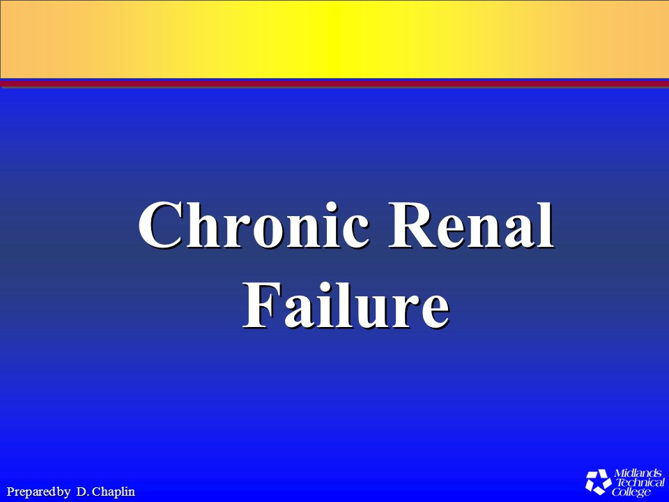 Prepared by D. Chaplin Chronic Renal Failure