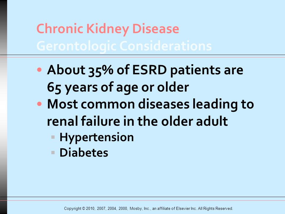 Chronic Kidney Disease Gerontologic Considerations About 35% of ESRD patients are 65 years of age or older Most common diseases leading to renal failure in the older adult  Hypertension  Diabetes