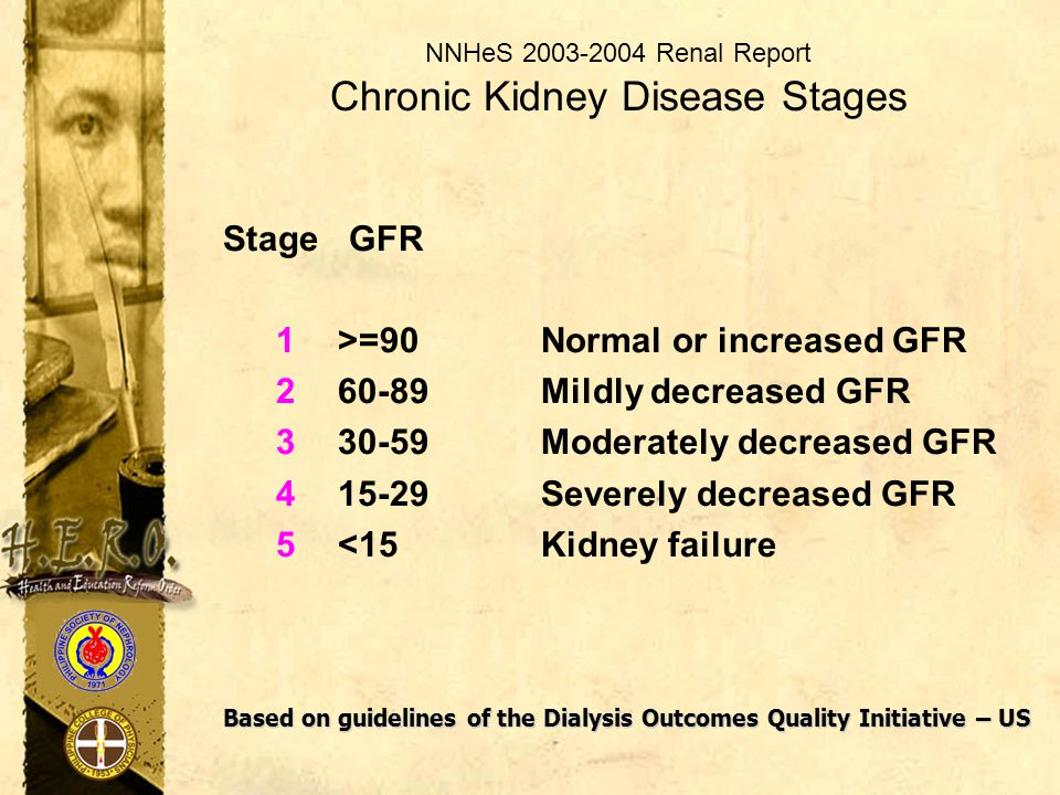 NNHeS 2003-2004 Renal Report Chronic Kidney Disease Stages Stage GFR 1>=90 Normal or increased GFR 260-89 Mildly decreased GFR 330-59 Moderately decre