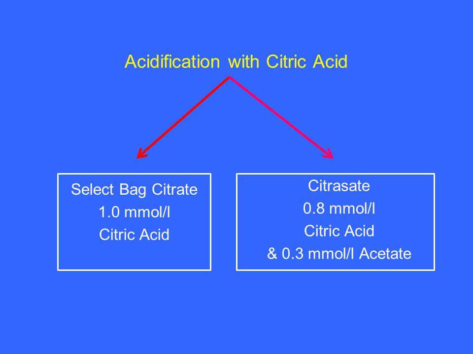 Select Bag Citrate 1.0 mmol/l Citric Acid Citrasate 0.8 mmol/l Citric Acid & 0.3 mmol/l Acetate